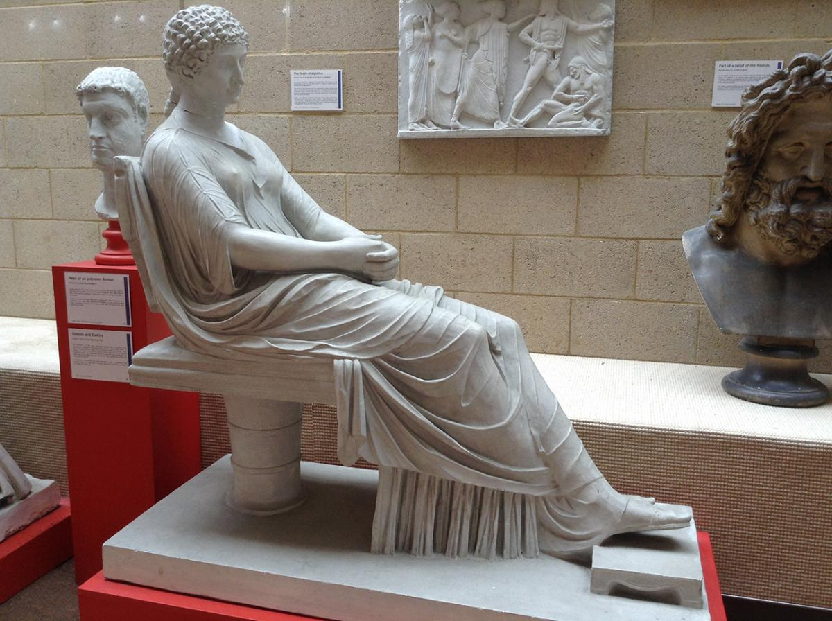 Statue Seated Roman Woman - side view