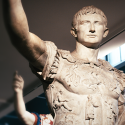 Roman sculpture of Augustus in military dress.